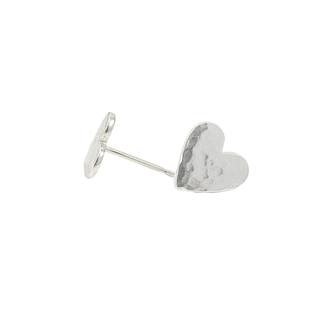 Hammered Heart Studs Handmade in Sterling Silver