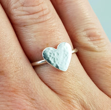 Silver Heart Ring with a hammered texture finish