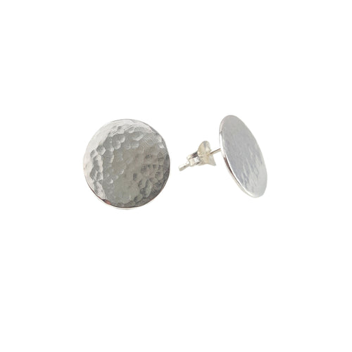 Halo Stud Earrings | Silver Hammered Disc Earrings