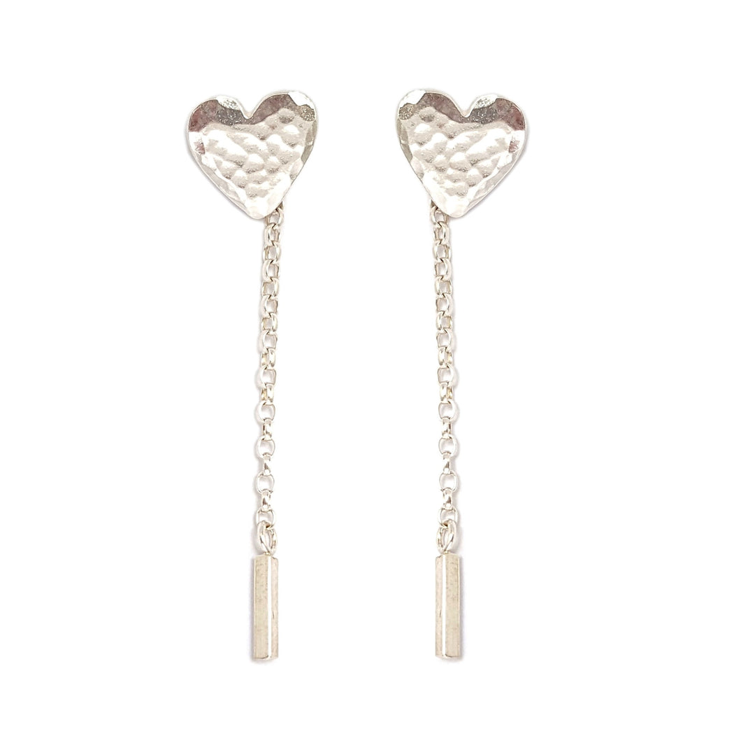 Silver Heart Drop Chain Earrings | Statement Studs