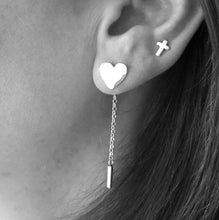 Hammered Heart Studs with Interchangeable Chain Drop