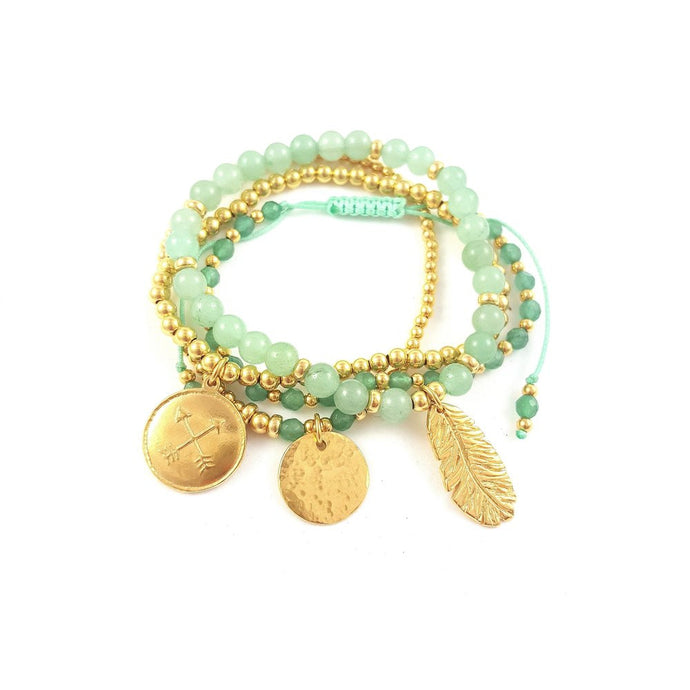 Kindred Green and Gold Bracelet Stack