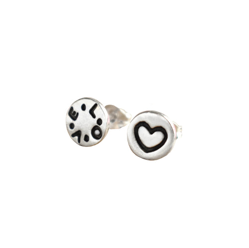 Love Heart Mismatch Silver Studs