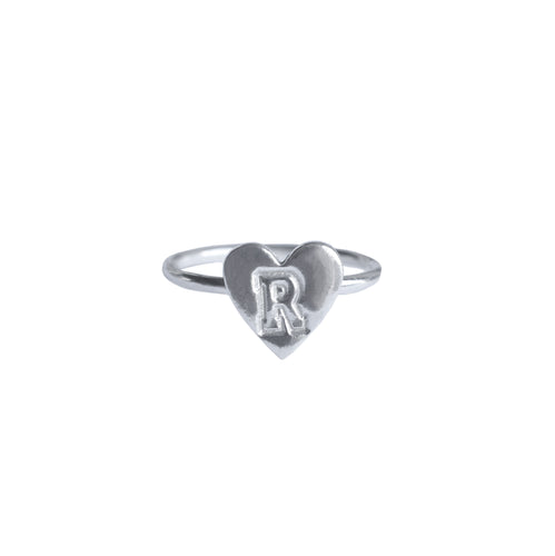 Personalised Initial Silver Heart Ring