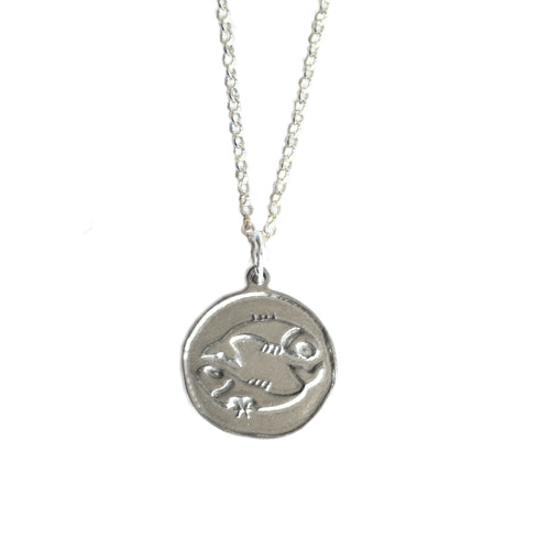 Pisces Zodiac Necklace in Sterling Silver