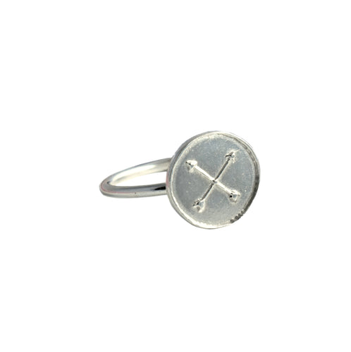 Silver Crossed Arrows Ring For Friendship