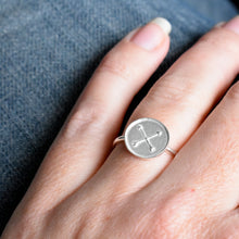 Handmade Silver Disc Ring featuring Crossed Arrows motif for Friendship