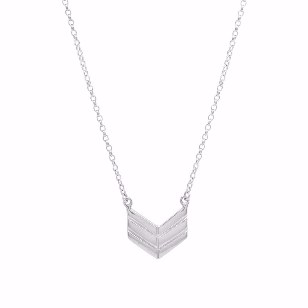 Silver Chevron Style Arrow Necklace | Symbol Of Strength and Protection