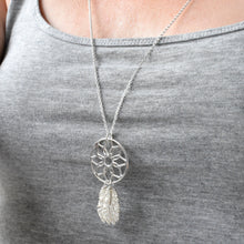 Handmade Silver Dream Catcher Necklace with Feather Charms