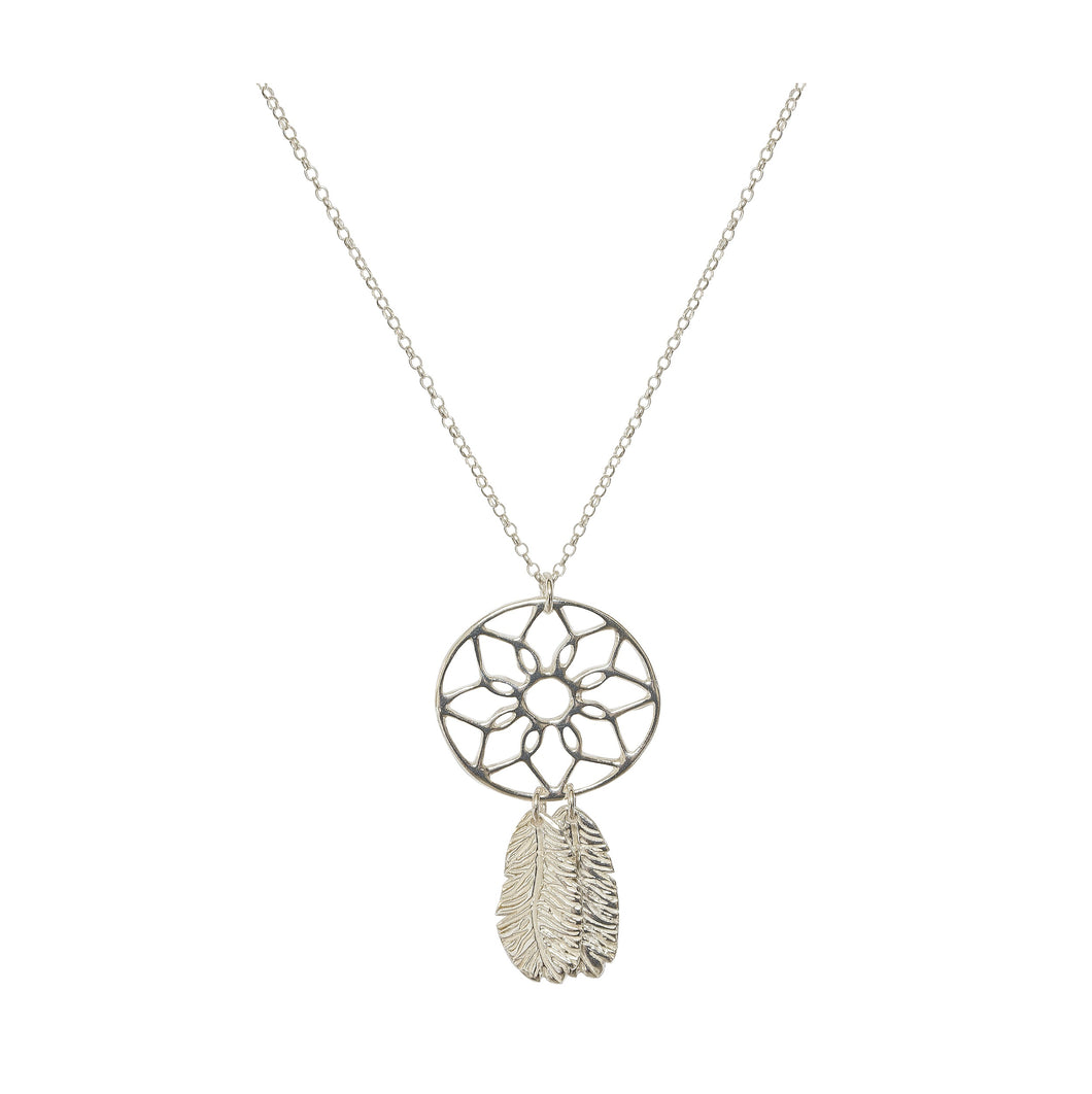 Silver Feather & Dreamcatcher Necklace