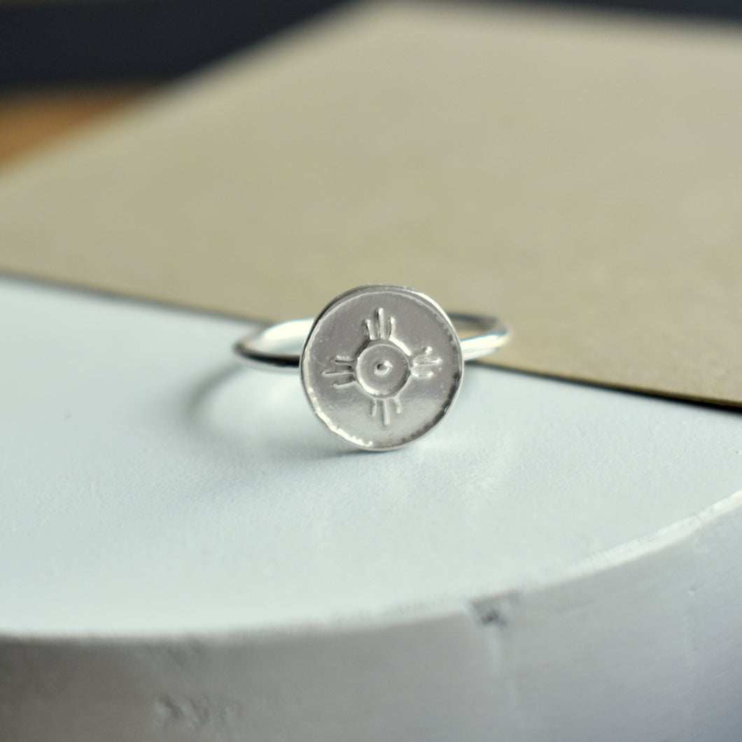 Handmade Silver Ring Embossed with the Sun Symbol For Happiness