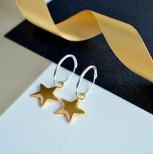 Silver and Gold Christmas Star Earrings