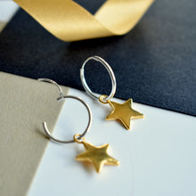 Star Hoop Earrings in Silver and Gold | Christmas Jewellery