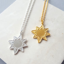 Handmade Sun Charm Necklace | Sterling Silver and 18ct Gold Plate