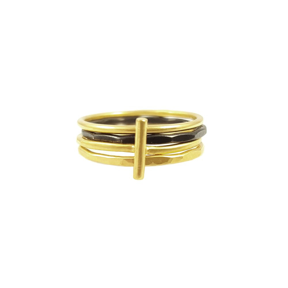 Spirited Black and Gold Ring Stack | Stacking Rings