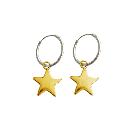 Silver and Gold Star Hoop Earrings