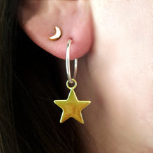 Mixed Metal Star Hoop Earrings - Gift For Her