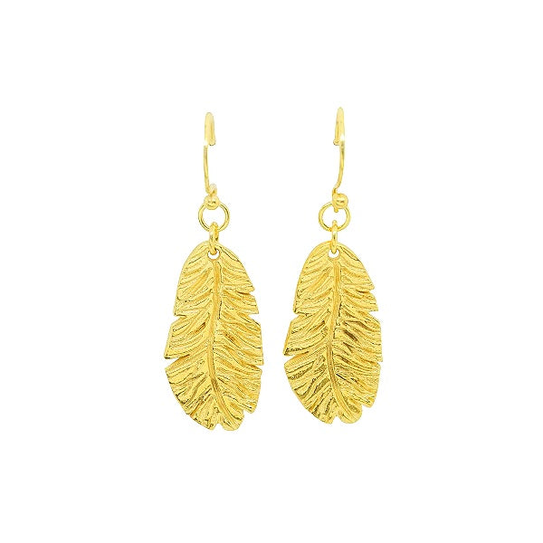Gold Feather Drop Earrings For Her