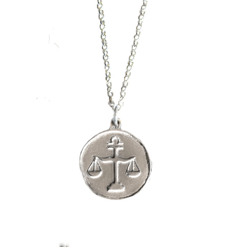 Libra Zodiac Necklace in Sterling Silver