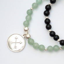 Green Aventurine and Silver Amulet Bracelet