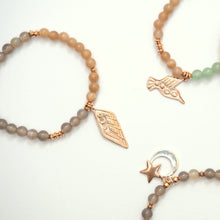 Beaded Gemstone and Rose Gold Talisman Bracelets