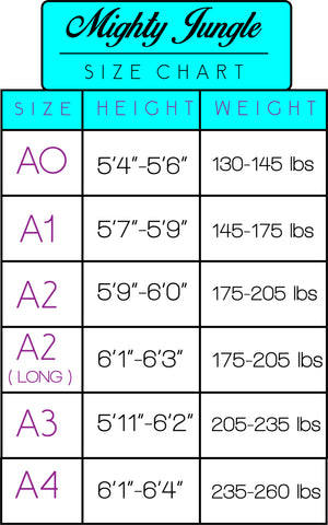 mighty jungle kimonos size chart bjj