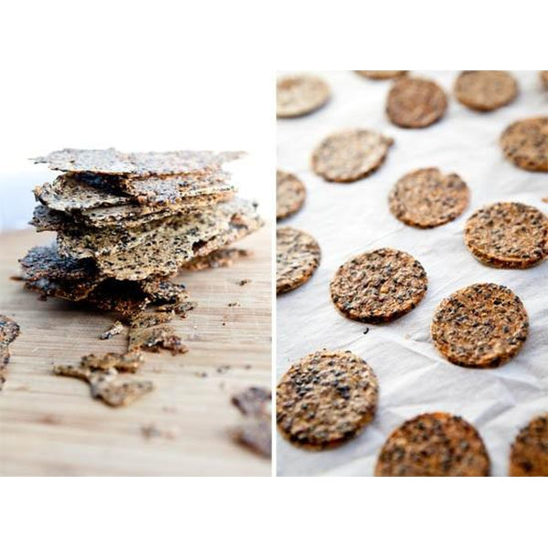 Quinoa & Chia Crackers with Rosemary Essential Oil, Garlic and Pink Himalayan Salt