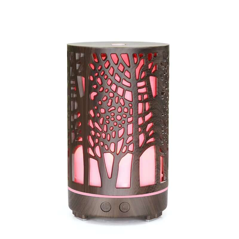 tree of life dark woodgrain effect diffuser light up pink