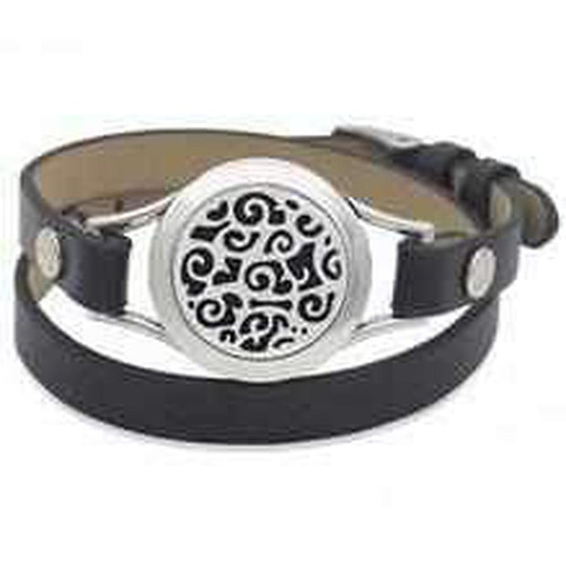 Black Leather Aromatherapy Wrist Wrap