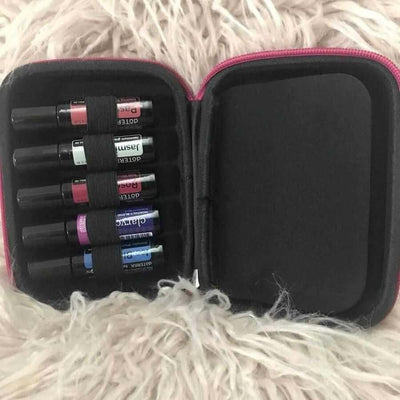 Open Essential Oil 10ml Roll-On Carry Case with Six doterra Roll-On Bottles Shown