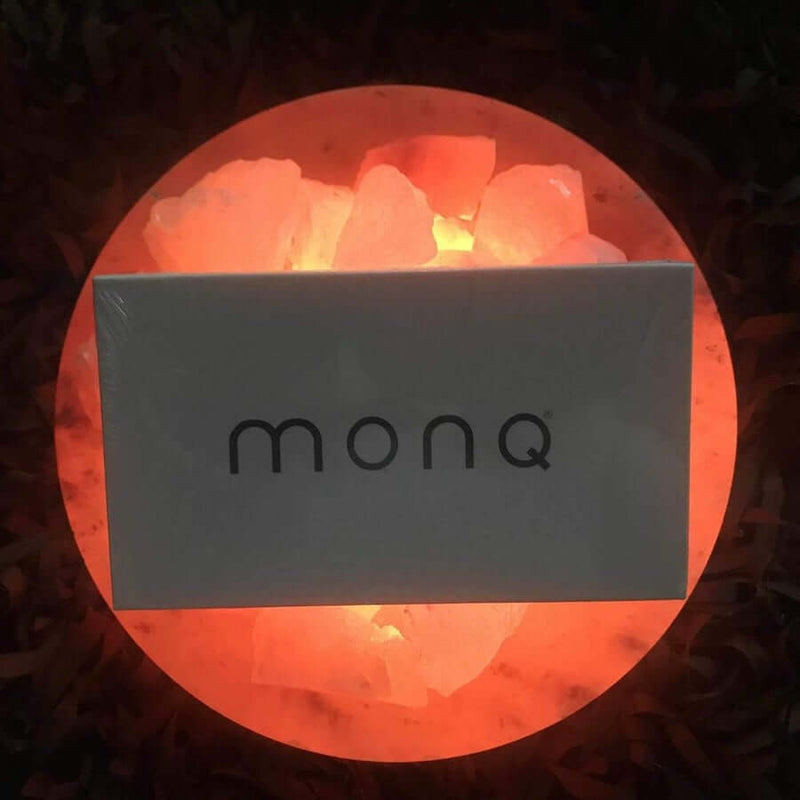 Monq gift box on a himalayan salt lamp