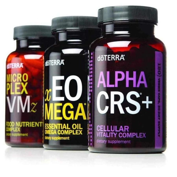 doterra Lifelong Vitality Pack Bottles - Alpha CRS®+, xEO Mega®, and Microplex VMz®