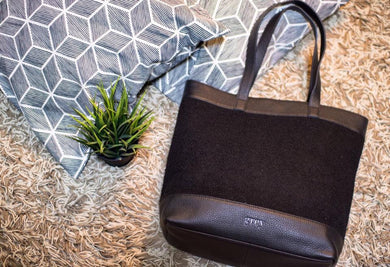 Evangeline Leather Felt Tote Black