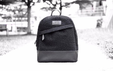 Grayson Leather Felt Backpack Black