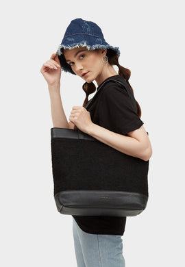 Evangeline Leather Felt Tote Black - greyortenhill