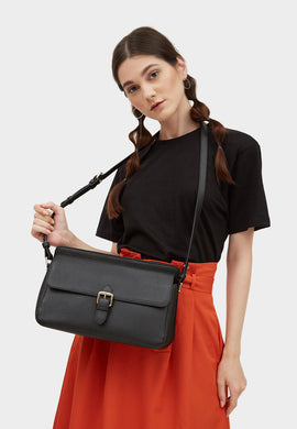 Thea Leather Shoulder Flap Bag (Black) - greyortenhill
