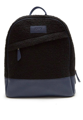 Grayson Leather Felt Backpack Blue - greyortenhill