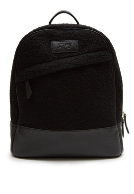 Grayson Leather Felt Backpack Black - greyortenhill