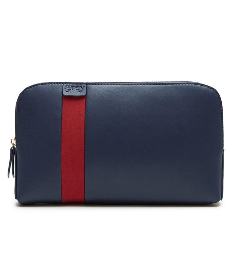 Mayden Pochette (Blue Leather with Red Suede) - greyortenhill