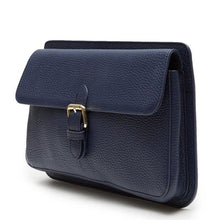 Moyet Leather Pochette Flap Clutch (Blue) - greyortenhill