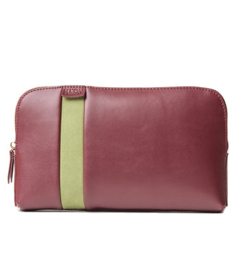 Mayden Pochette (Burgundy Leather with Green Suede) - greyortenhill