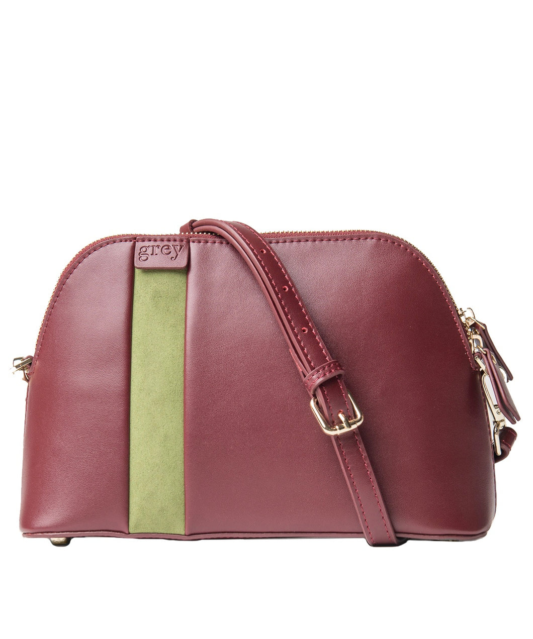 Mayden Cross Body (Burgundy Leather with Green Suede) - greyortenhill