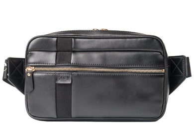 Mayden Unisex Belt Bag (Black Leather with Black Suede) - Time Limited Sale! - greyortenhill