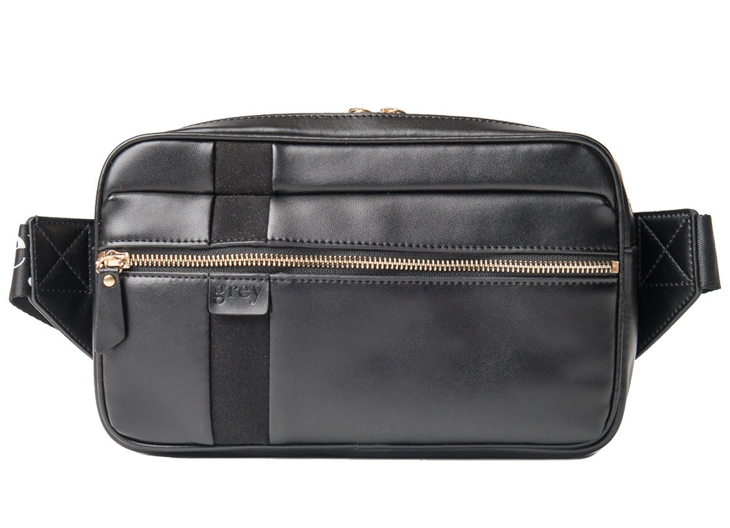 Mayden Unisex Belt Bag (Black Leather with Black Suede) - greyortenhill