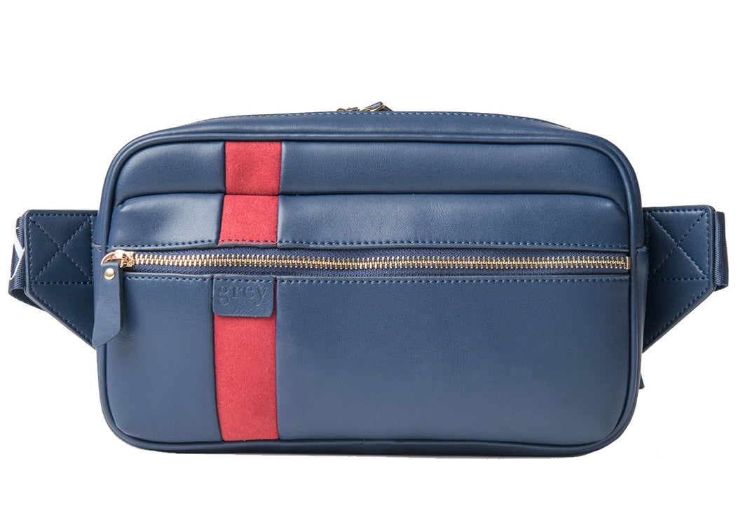 Mayden Unisex Belt Bag (Blue Leather with Red Suede) - greyortenhill
