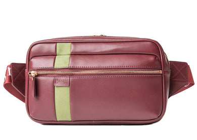 Mayden Unisex Belt Bag (Burgundy Leather with Green Suede) - Time Limited Sale! - greyortenhill
