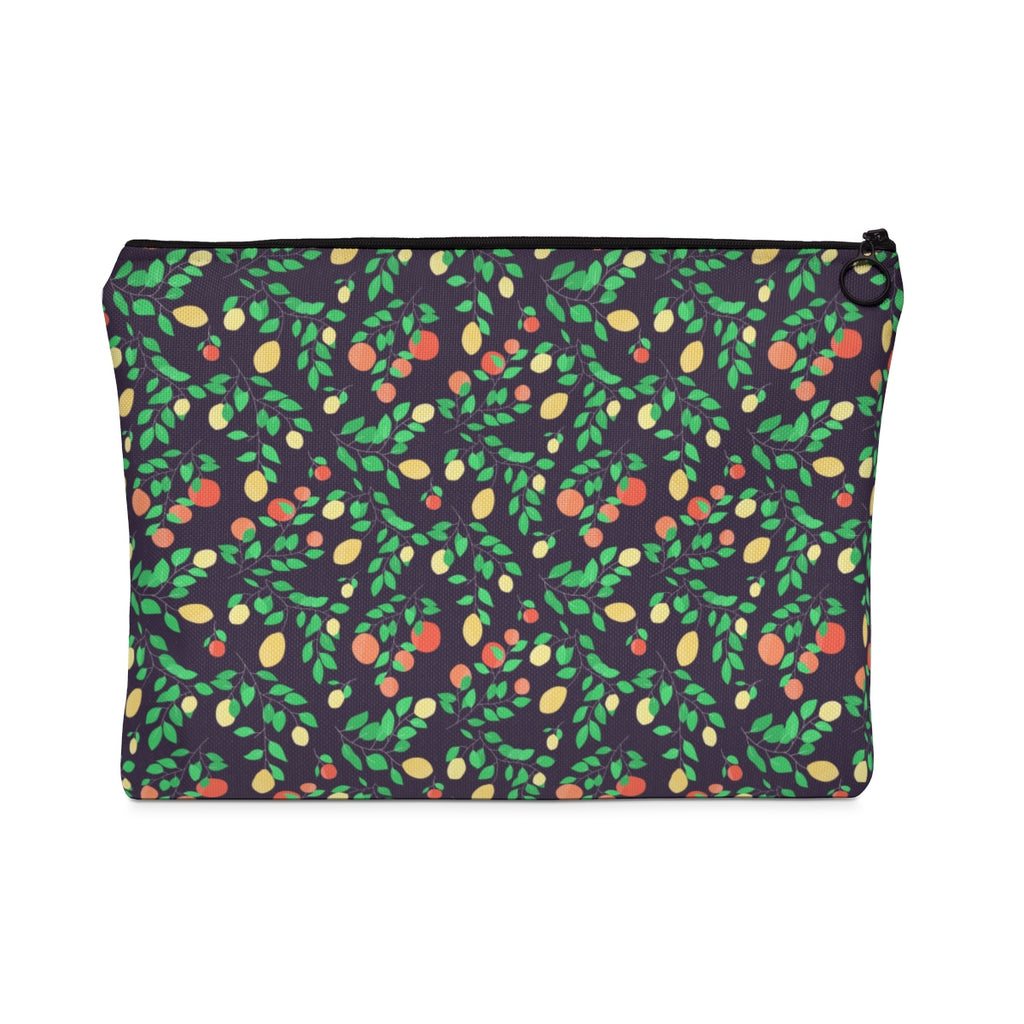 Orange And Lemon Pattern Dark Edition Carry All Pouch - Flat