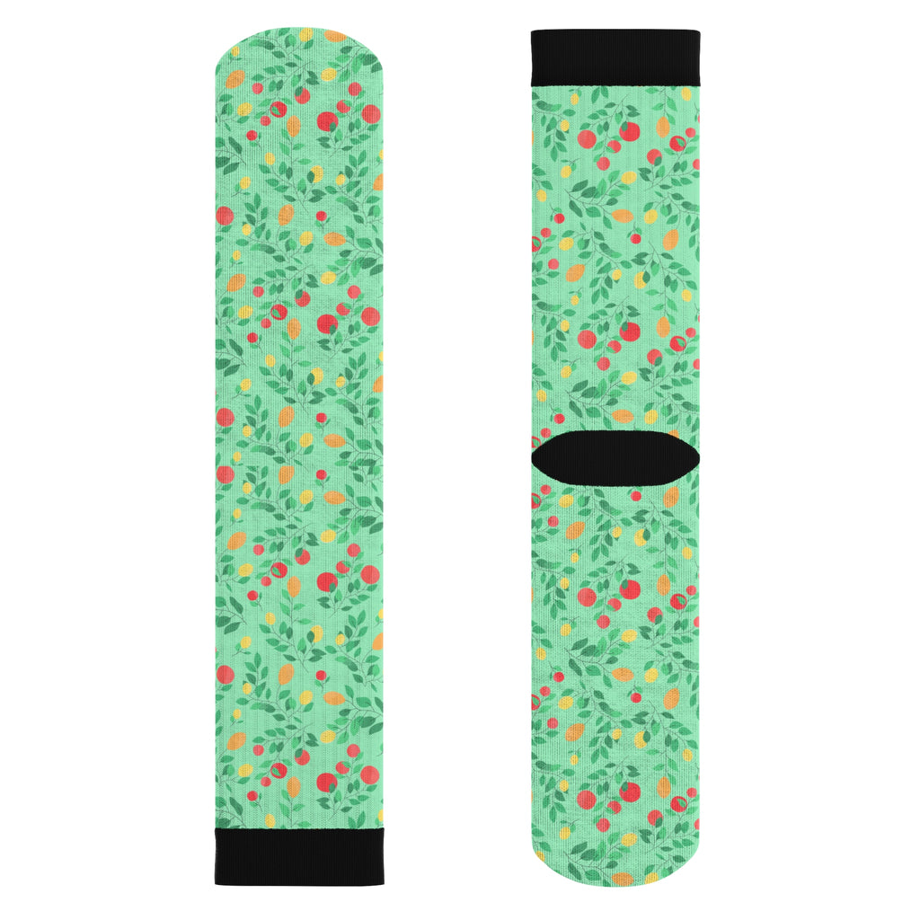 Orange And Lemon Pattern Lime Edition Sublimation Socks