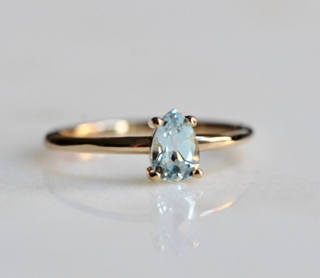 Pear Aquamarine Solitaire