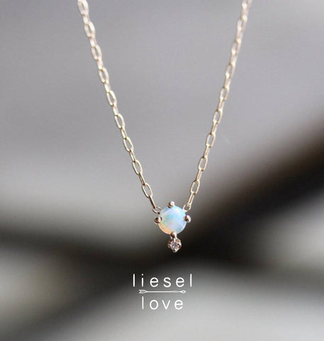 Love Drop Necklace (Opal)